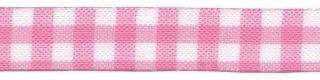 Roze-wit geruit band 13 mm (ca. 32 m)
