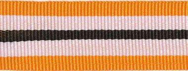 Oranje-wit-zwart streepband 25 mm