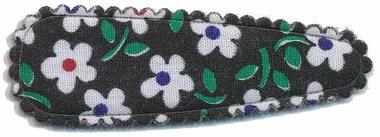 Haarkniphoesje zwart met bloem 5 cm