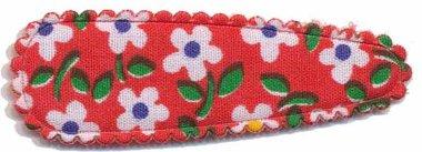 Haarkniphoesje rood met bloem 5 cm