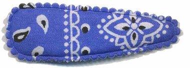 Haarknip met haarkniphoesje blauw paisley 5 cm