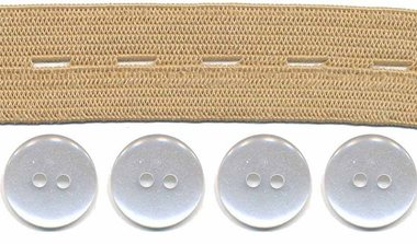 Huidkleur knoopsgatenelastiek (20 mm) en knopen (16 mm)