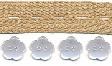 Huidkleur knoopsgatenelastiek (20 mm) en bloemknopen (15 mm)