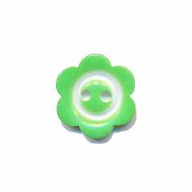Bloemknoop met rand appel groen 15 mm