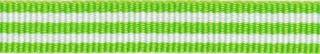 Gifgroen-wit streep grosgrain/ribsband 10 mm (ca. 25 m)