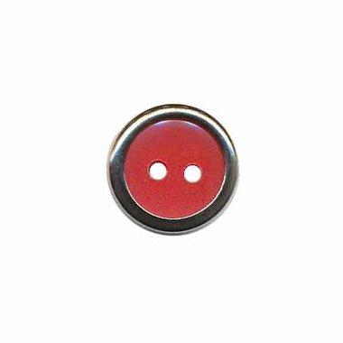 Knoop met metalen rand rood 13 mm (ca. 100 stuks)