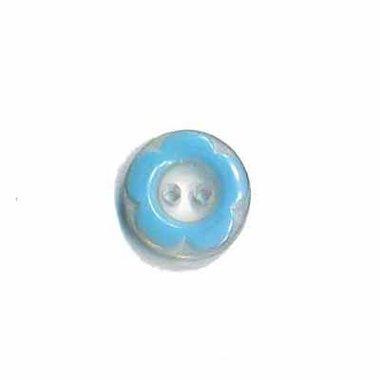 Bloemknoop met opstaande rand blauw 11 mm (ca. 100 stuks)