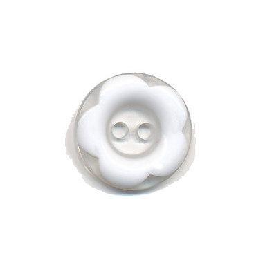 Bloemknoop met opstaande rand wit 15 mm (ca. 50 stuks)