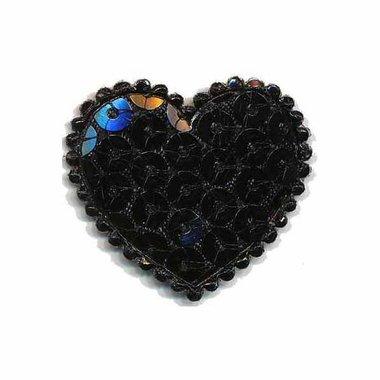 Applicatie hart met pailletten zwart middel 35 x 30 mm (10 stuks)