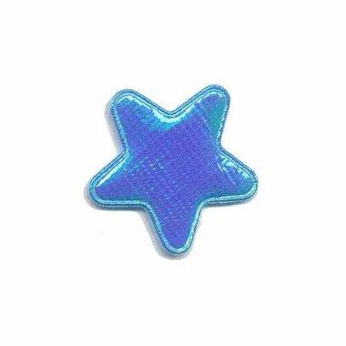 Applicatie glim ster blauw klein 25 mm (ca. 25 stuks)