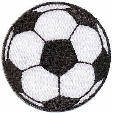 Opstrijkbare applicatie voetbal groot (5 stuks)
