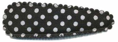 Haarknip met haarkniphoesje zwart met witte stip / polkadot 5 cm (10 stuks)