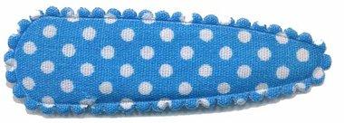 Haarknip met haarkniphoesje blauw met witte stip / polkadot 5 cm (10 stuks)