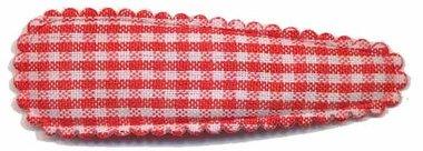 Haarknip met haarkniphoesje rood-wit geruit 5 cm (10 stuks)