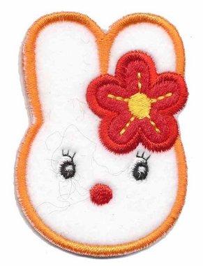 Applicatie konijn wit/oranje met rode bloem (5 stuks)
