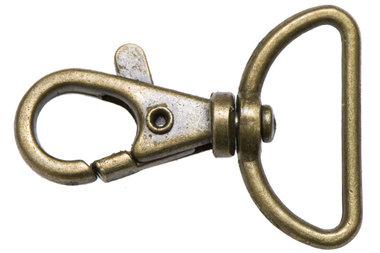 Musketonhaak / sleutelhanger bronskleurig 25 mm (10 stuks)