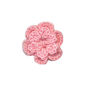 Gehaakt roosje licht roze 25 mm (10 stuks)