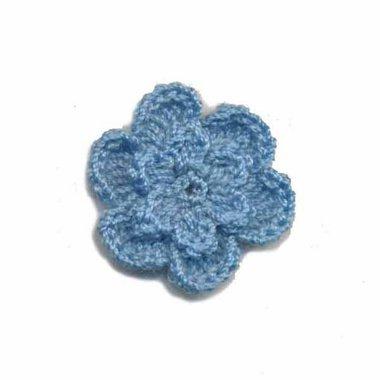 Gehaakt roosje blauw 25 mm (10 stuks)