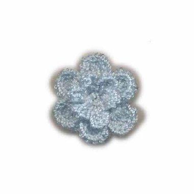 Gehaakt roosje licht blauw 25 mm (10 stuks)