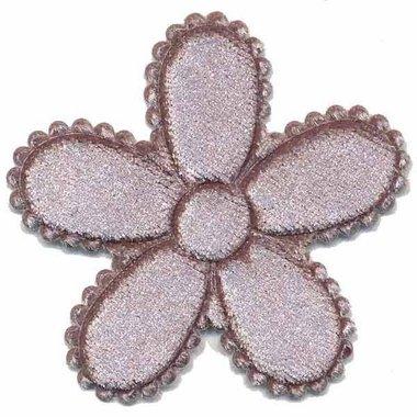 Applicatie bloem grijs fluweel groot 45 mm (ca. 25 stuks)