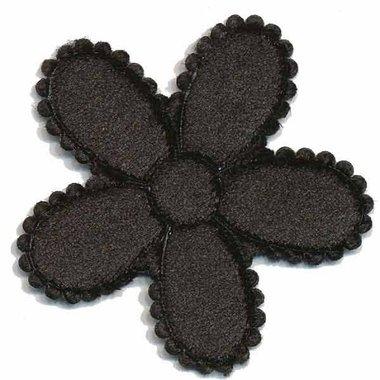 Applicatie bloem zwart fluweel groot 45 mm (ca 25 stuks)