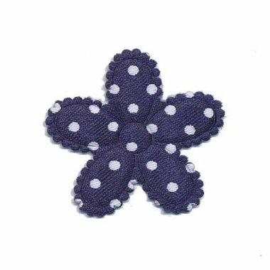 Applicatie bloem donker blauw met witte stippen satijn middel 30 mm (ca. 25 stuks)