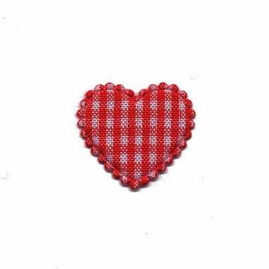 Applicatie geruit hart rood klein 25 x 20 mm (ca. 25 stuks)