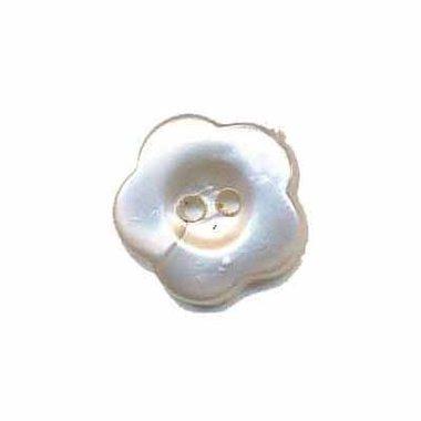 Bloemknoop wit parelmoer 15 mm (ca. 50 stuks)