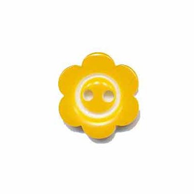 Bloemknoop met rand geel 15 mm (ca. 50 stuks)