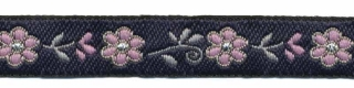 Donker blauw-oud roze bloemband 12 mm (ca. 22 m)