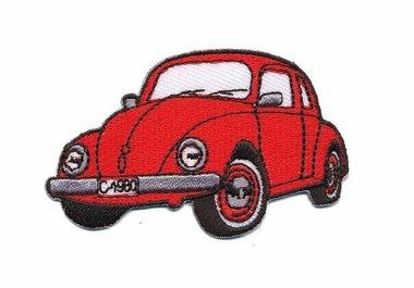 Opstrijkbare applicatie auto 'VW Kever' rood klein (5 stuks)