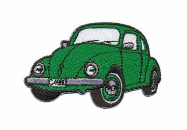 Opstrijkbare applicatie auto 'VW Kever' groen klein (5 stuks)