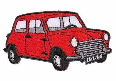 Opstrijkbare applicatie auto 'Mini' rood (5 stuks)