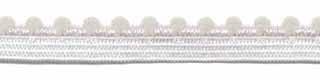 Gebroken wit elastiek met bolletjes sierrand 12 mm (ca. 10 meter)