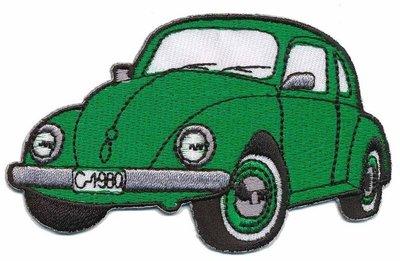 Opstrijkbare applicatie auto 'VW Kever' groen (5 stuks)