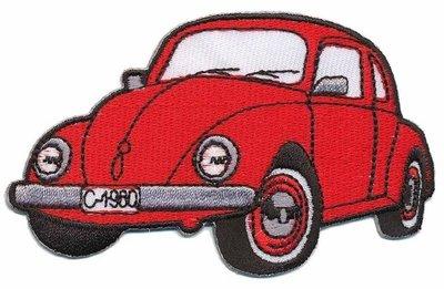 Opstrijkbare applicatie auto 'VW Kever' rood (5 stuks)