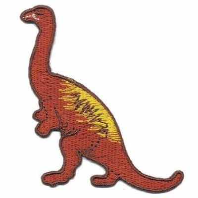 Opstrijkbare applicatie dinosaurus roodbruin (5 stuks)
