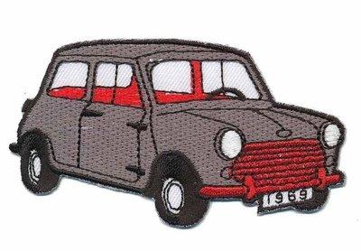 Opstrijkbare applicatie auto 'Mini' grijs (5 stuks)
