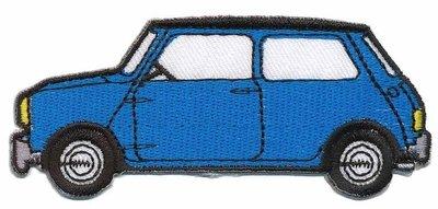 Opstrijkbare applicatie auto 'Mini' blauw met witte koplampen (5 stuks)
