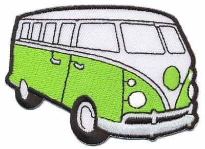 Opstrijkbare applicatie 'VW bus' licht groen (5 stuks)