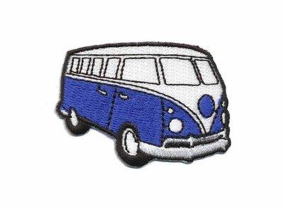 Opstrijkbare applicatie 'VW bus' blauw klein (5 stuks)