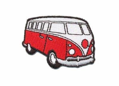 Opstrijkbare applicatie 'VW bus' rood klein (5 stuks)