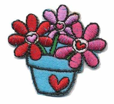 Opstrijkbare applicatie bloemen in pot roze/rood/blauw (5 stuks)