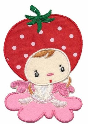 Applicatie aardbeienmeisje op roze wolkje groot (5 stuks)
