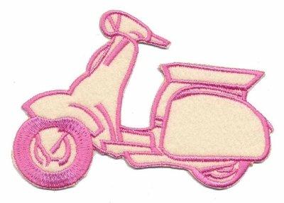 Applicatie scooter creme/roze groot (5 stuks)
