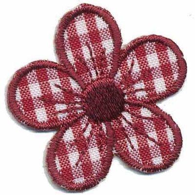 Applicatie geruite bloem bordeaux 40 mm (10 stuks)