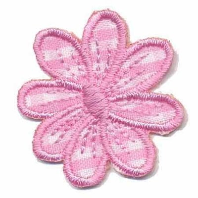 Applicatie geruite bloem roze 35 mm (10 stuks)
