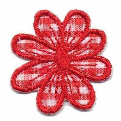 Applicatie geruite bloem rood 35 mm (10 stuks)