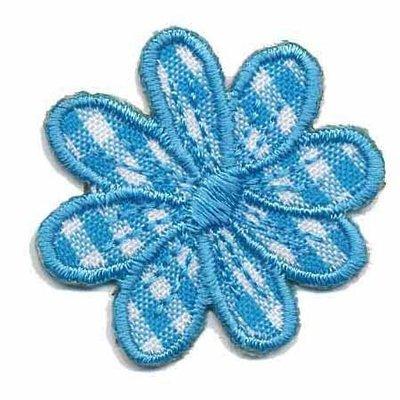 Applicatie geruite bloem aqua 35 mm (10 stuks)