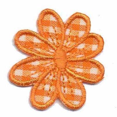 Applicatie geruite bloem oranje35 mm  (10 stuks)